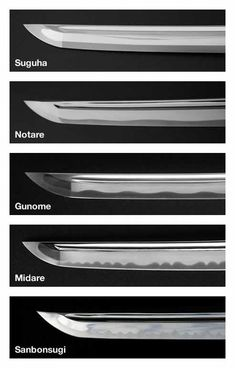 """Hamon (from Japanese, literally """"blade pattern"""") is a visual effect created on the blade by the hardening process. The hamon is the outline of the hardened zone (yakiba) which contains the cutting edge (ha). Blades made in this manner are known as differentially hardened. This difference in hardeness results from clay being applied on the blade prior the cooling process (quenching)."""