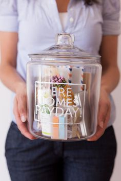 New Job Jar DIY | Oh Happy Day! Little gifts in a jar -great gift idea, not just to celebrate a new job. You can put in all sorts of things (makeup and hair products, jewelry and scarves, art supplies...).