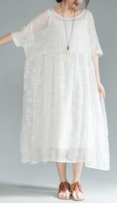 Fine cotton lace dresses oversize Women Loose Round Neck Half Sleeve Pleated DressMost of our dresses are made of cotton linen fabric, soft and breathy. loose dresses to make you comfortable all the time. Stylish Dresses For Girls, Simple Dresses, Casual Dresses, Summer Dresses, Mode Mantel, Affordable Prom Dresses, Oversized Dress, Bohemian Mode, Cotton Dresses
