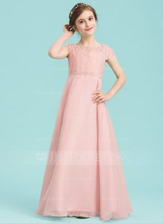 941ee6cece4 A-Line Princess Scoop Neck Floor-Length Chiffon Junior Bridesmaid Dress  With Beading - Junior Bridesmaid Dresses - JJsHouse