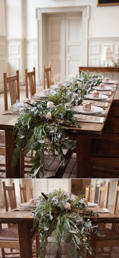 foliage table runner on long oak wedding table photo by Fiona Kelly Wedding design by Always Andri