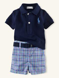 Mesh Polo & Plaid Short Set - Outfits & Gift Sets   Layette Boy (Newborn–9M) - RalphLauren.com