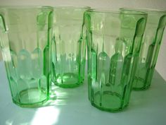 Four RARE Beautiful Green Depression Glass Uranium....Glowing Green Glasses on Etsy, Sold