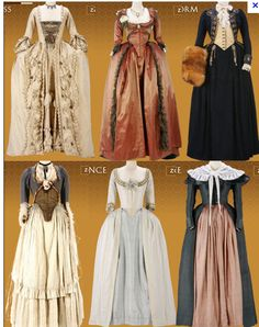 Several costumes from 'The Duchess' (2008). Costume design by Michael O'Connor.