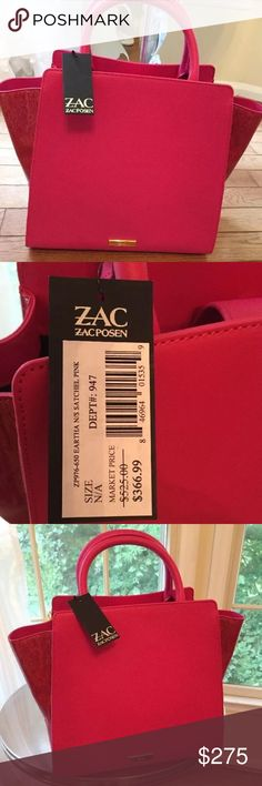 """ZAC / ZAC POSEN EARTHA PINK PATENT & MATTE TOTE ZAC / ZAC POSEN 100% Authentic From Saks 5th Avenue Rare ~ Sold Out & Hard to Find Eartha Pink Patent & Matte North/South Satchel This is the larger tote - NOT the mini! *We have a clean and smoke free home Enjoy!  ~~~~~~~~~~ Sleek patent sides complete this leather satchel Dual top handles, 4.5"""" drop Removable shoulder strap, 17"""" drop Top magnetic tab closure Protective feet Two inside open pockets One inside zip pocket Fabric lining 16""""W X…"""