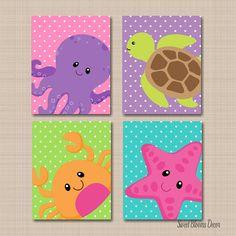 Sea Animals Nursery Wall Art Turtle Star Fish Crab Octopus Nursery Prints, Nursery Wall Art, Nursery Decor, Ocean Nursery, Animal Nursery, Kids Canvas, Diy Canvas Art, Baby Painting, Painting For Kids
