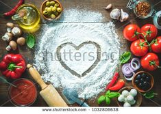 Stock Photo: Ingredients and spices for making homemade pizza. Top view with copy space on wooden table