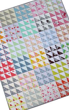 Retro Half Square Triangle (HST) Quilt and New Quilt Pattern - Red Pepper Quilts