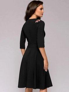 Fashion Vintage O-Neck Black 3/4 Sleeve A-line Sheath Dress