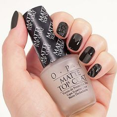 OPI Matte Top Coat makes your colors look like velvet! It's elegant meets edgy. Solar Nail Designs, Nail Art Designs, Nail Salon Games, Solar Nails, Coat Outfit, Black Nail Art, Black Nails, Matte Black, Nail Designs Pictures