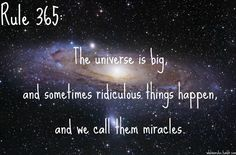 Rule 365:The universe is big,and sometimes ridiculous things happen,and we call them miracles. Submission! [Image Credit]