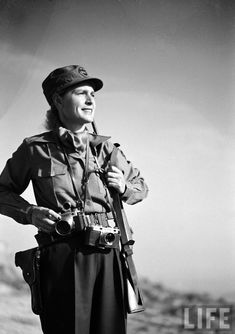 LIFE photographer Margaret Bourke-White on assignment during the Korean War, 1951