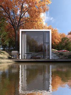 Casa de lago. Casa cubo, contemporánea.