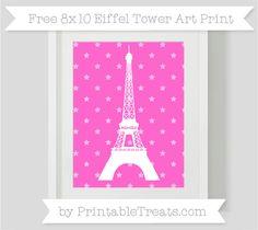 Rose Pink Star Pattern  8x10 Eiffel Tower Art Print