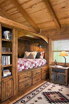 Top 60 Best Log Cabin Interior Design Ideas - Mountain Retreat Homes From kitchens to living rooms and beyond, discover inspiration with the top 60 best log cabin interior design ideas. Explore cool mountain retreat homes. Log Cabin Bedrooms, Log Cabin Homes, Log Cabin Interiors, Log Home Bedroom, Bedroom Ideas, Barn Homes, Log Cabins Uk, One Room Cabins, Small Log Homes