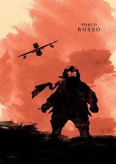 Cool Porco Rosso Hayao Miyazaki Minimalist Movie Poster Illustrations