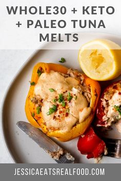 These Whole30, Paleo, Keto Tuna Melts are the perfect dietary friendly comfort food with creamy, dreamy tuna salad stuffed into a sweet + crunchy bell pepper topped with melty, gooey cashew cheese sauce. They are quick, easy + will quickly become a family favourite! Lunch Recipes, Paleo Recipes, Healthy Dinner Recipes, Real Food Recipes, Whole 30 Lunch, Tuna Melts, Cashew Cheese, Cheese Sauce, Paleo Dinner