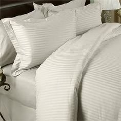 Damask Stripe TWO piece Pillow case Set. 600 Thread Count 100% Long Staple Egyptian Giza Cotton with Swiss Sateen Finishing