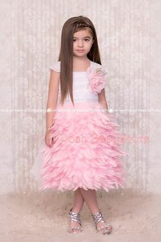 Oh So Pretty Pink Ivory or White Girls Feather Apron Dress