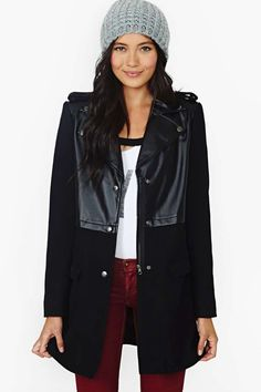 33438aad7a7 Nasty Gal Assumed Identity Faux Leather Coat in Black - Lyst