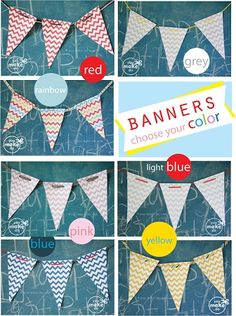 Chevron banner printables available in many lovely colors! They are customizable too!