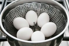 How to Steam Hard Boiled Eggs ~ The best way to hard cook eggs? Steam them! That way they peel easily. ~ SimplyRecipes.com