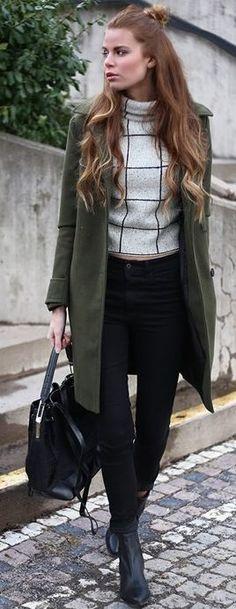Josefin Ekstrom Grid Print Turtleneck Khaki Green Coat Fall Street Style Inspo