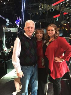 Mark, Janie, Susanne Baber at Voice finale in LA Dec 2015