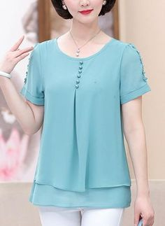 [US$ 24.99] Chiffon Round Neck Plain Short Sleeves Casual Blouses (1003226871)
