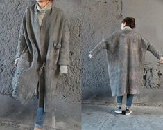 Women coat, nuno felted coat, wearable art, designer coat, Hand made, felted jacket, eco-fashion, wool Coat , warm coat, light beige coat, clothing READY TO SHIP. ******* A beautiful coat with one large pocket on the right side. A great choice for spring. Thin and warm, delicate and