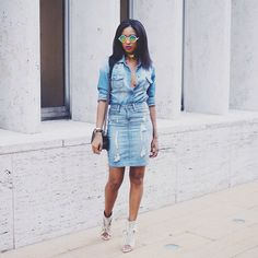 5 Denim #OOTDs For All Your Weekend Plans #refinery29  http://www.refinery29.com/denim-weekend-outfits#slide2  Take your Canadian tuxedo out on the town. Ria Michelle's NYFW ensemble is great for a night in the city.