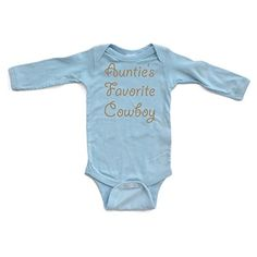 Apericots Aunties Favorite Cowboy Country Western Long Sleeve Baby Boys Bodysuit *** Check this awesome product by going to the link at the image.Note:It is affiliate link to Amazon.