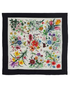 Floral & Insect Print Silk Scarf   Scarves   Rokit Vintage Clothing