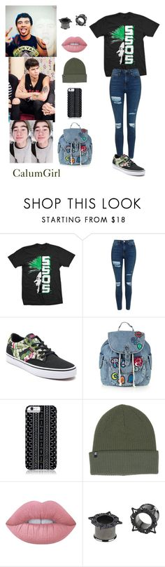 """""""CalumGirl Outfit"""" by justkittyfanggyg ❤ liked on Polyvore featuring Topshop, Vans, Savannah Hayes, Billabong, Lime Crime, outfit, 5sos, calumhood and 5secondsofsummer"""