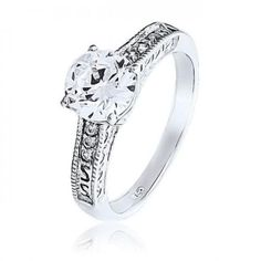 Bling Jewelry Sterling Silver 1.25ct CZ Vintage Style Engagement Ring  #BlingJewelry, #Fashion, #Jewelry, #JewelryRings