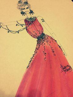 My fashion sketch- Peach Bollywood