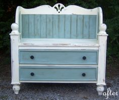 old dresser into bench - Google Search