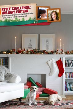 Simple red and green decorating ideas for Danielle and Alaina of The Everygirl #christmas #fireplace #mantel | From The Home Depot's Apron blog series Holiday Style Challenge