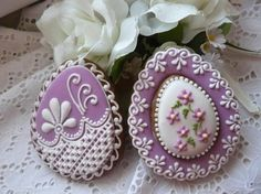 Lovely Victorian-inspired lavender and white egg-shaped cookies