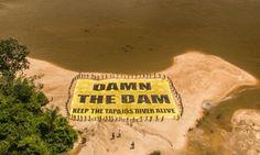 Índios protestam contra construção de hidrelétrica no rio Tapajós Foto: Greenpeace chama atenção para impacto ambiental que será causado pelas barragens