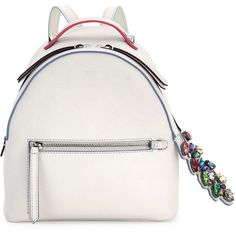Fendi Mini Crystal Croc-Tail Backpack (€2.080) ❤ liked on Polyvore featuring bags, backpacks, mini rucksack, white backpacks, white bag, mini zip bags and croc bags