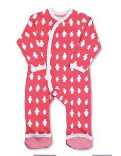 Infant Romper Organic Kimono Romper Red Penguin | Penguin Organics