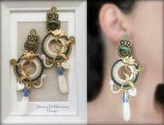 Soutache Necklace, Macrame Earrings, Ring Earrings, Handmade Wire Jewelry, Boho Jewelry, Jewelery, Shibori, Beaded Embroidery, Women Accessories