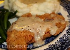 Chicken Fried Chicken  boneless, skinless chicken breast is pounded thin, dredged in flour and fried. Served with a drizzle of creamy milk gravy made from some of the pan drippings, it is truly good ole comfort food. | Look around!
