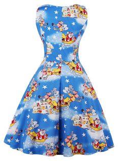 ed1a711ac53 Dresswel Women Fashion Elegant Pullover Round Neck Sleeveless Christmas  Print Maxi Dress Christmas Print Dresses