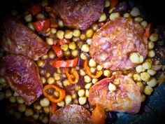 Chorizo, Chickpeas, and Peppers---- Recipe from the most amazing Hugh's 3 Good Things (recipes with only three main ingredients!) -- http://www.rivercottage.net/recipes/allegra-mcevedys-chickpeas-chorizo-and-peppers/