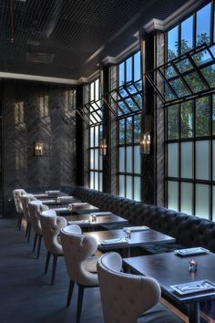 Restaurant Dining Chairs Moody interior design with upholstered neutral chairs. Design Café, Bar Interior Design, Restaurant Interior Design, Cafe Interior, Cafe Design, Design Ideas, Restaurant Furniture, Blog Design, Design Trends