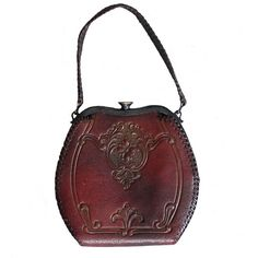 Vintage 1930s Art Deco Floral Tooled Leather Purse ❤ liked on Polyvore featuring bags, handbags, man bag, white purse, leather purse, white hand bags and vintage handbags purses