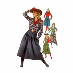 Misses Western Skirt Shirt Vest Simplicity 7601 Vintage Sewing Pattern