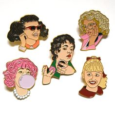 Pink Ladies Enamel Pin Set by WildTigerPins on Etsy